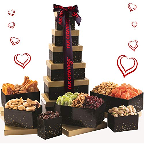 Gourmet Food Gift Basket For Her & Him, Fresh Nuts & Dried Fruit Gift Tower, Edible Arrangement 12 Individual Boxes, Healthy Snack Box Present - Woman, Men, Wife, Husband, Birthday - Prime Delivery