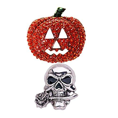 Dovewill 2 Pieces Shiny Rhinestone Crystal Pumpkin & Creepy Skull Skeleton Head Brooch Pin Halloween Jewelry Accessories