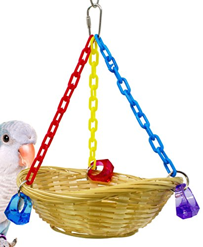 (Bonka Bird Toys 1914 Basket Swing Cages Toy Cage Parrot Natural Cockatiel Parakeet Birds Rope Playground Pet Bath Nesting Foraging Perch Aviary Box)