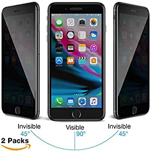 iPhone 7/8 Plus Privacy Screen Protector, MEBUYZ 3D Touch High Hardness Privacy Screen 0.4mm [2 Pack] Easily Install & Waterproofing Light Screen Protector for iphone 7/8 Plus