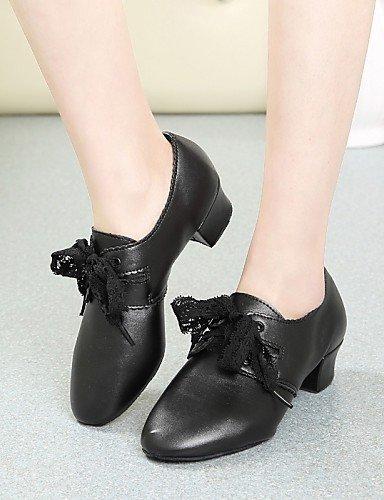Noir talon Black de Non danse Moderne Cuir Gros Chaussures personnalisable ShangYi qtgTaww