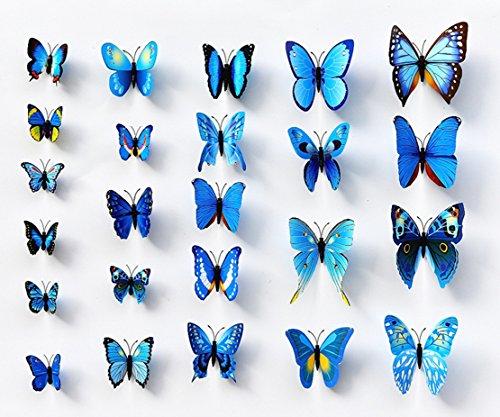 Freedi 12 Pcs 3D Butterfly Stickers Fridge Stickers Crafts Decor Art Sponge Gum