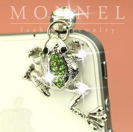 IP448-B Cute Green Crystal Frog Anti Dust Plug Cover Charm for Iphone Android]()