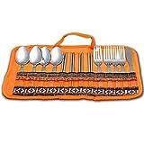 Ezyoutdoor 13 Piece Stainless Steel (Folk, Spoon, Chopsticks,Knife) Travel Hiking Kitchen Camping Cutlery Set With Lightweight Storage Bag