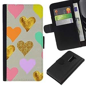 iBinBang / Flip Funda de Cuero Case Cover - Azul de oro de la hoja rosa del amor de San Valentín para niños - LG G2 D800 D802 D802TA D803 VS980 LS980