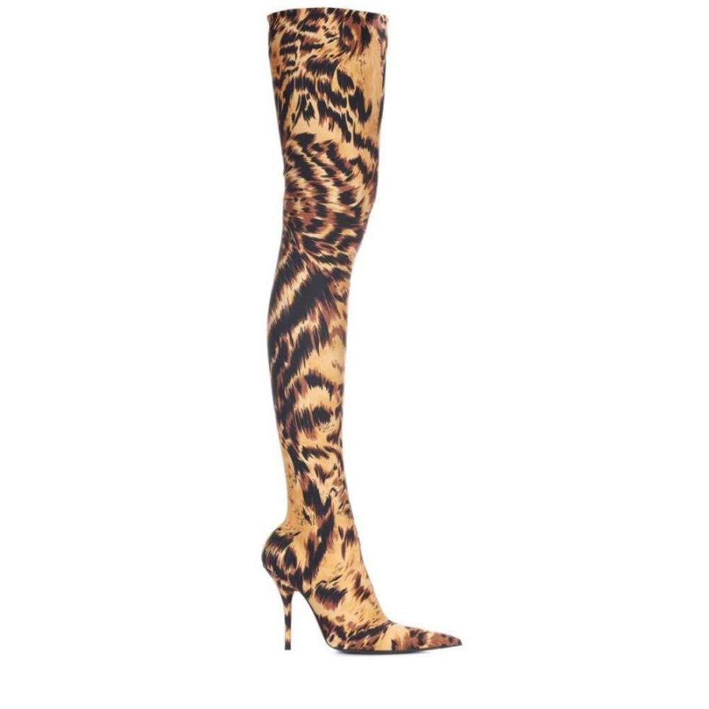HN Stiefel Damen Oberschenkel Hohe Stiefel Overknee Schenkelhoch Über Über Über Das Knie Mode Elastisch Stöckelschuhe Spitzschuh Leopard Hoher Absatz Abend Schuhe Größe 35-46 74858d