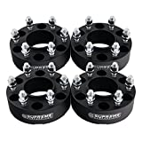 "Supreme Suspensions - (4pc) 1999-2016 Chevy Silverado 1500 1.5"" Hub Centric Wheel Spacers 6x5.5"" (6x139.7mm) with Lip + M14x1.5 Studs [Black]"