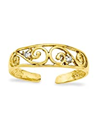Gold and Watches 14k .02ct Diamond Scroll Toe Ring