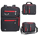 Laptop Briefcase Backpack, Evecase Unisex Lightweight Convertible Laptop Briefcase Backpack Rucksack fits up to 15.6-inch Laptop / Notebook / MacBook / Chromebook - Black with Red Zipper