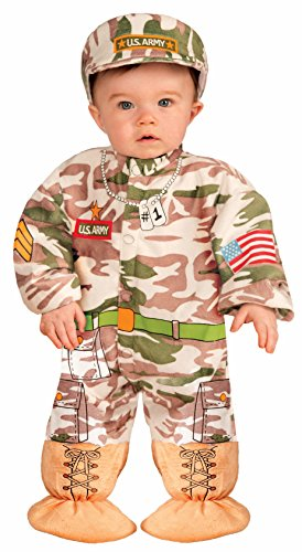 Forum Novelties Baby Boy's I Wannabee Soldier Infant Costume, Multi, Infant White ()