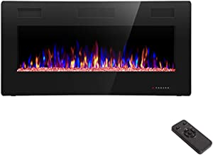 R.W.FLAME 36 inch Recessed and Wall Mounted Electric Fireplace, Fit for 2 x 4 and 2 x 6 Stud, Remote Control with Timer,Touch Screen,Adjustable Flame Color and Speed, 750-1500W