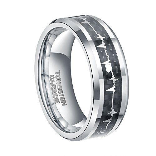 8mm Silver Heartbeat Tungsten Ring for Men Women with EKG Carbon Fiber Inlay Comfort Fit Wedding Band Size 11
