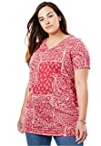 Women's Plus Size Perfect Printed Shirred V-Neck Tunic