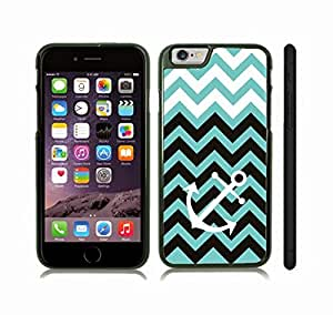 iStar Cases? iPhone 6 Plus Case with Chevron Pattern Stripe Mint/ Black and White Anchor , Snap-on Cover, Hard Carrying Case (Black) by icecream design