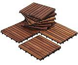 Bare Decor EZ-Floor Interlocking Flooring Tiles in Solid Teak Wood Oiled Finish (Set of 10), Long 9 Slat
