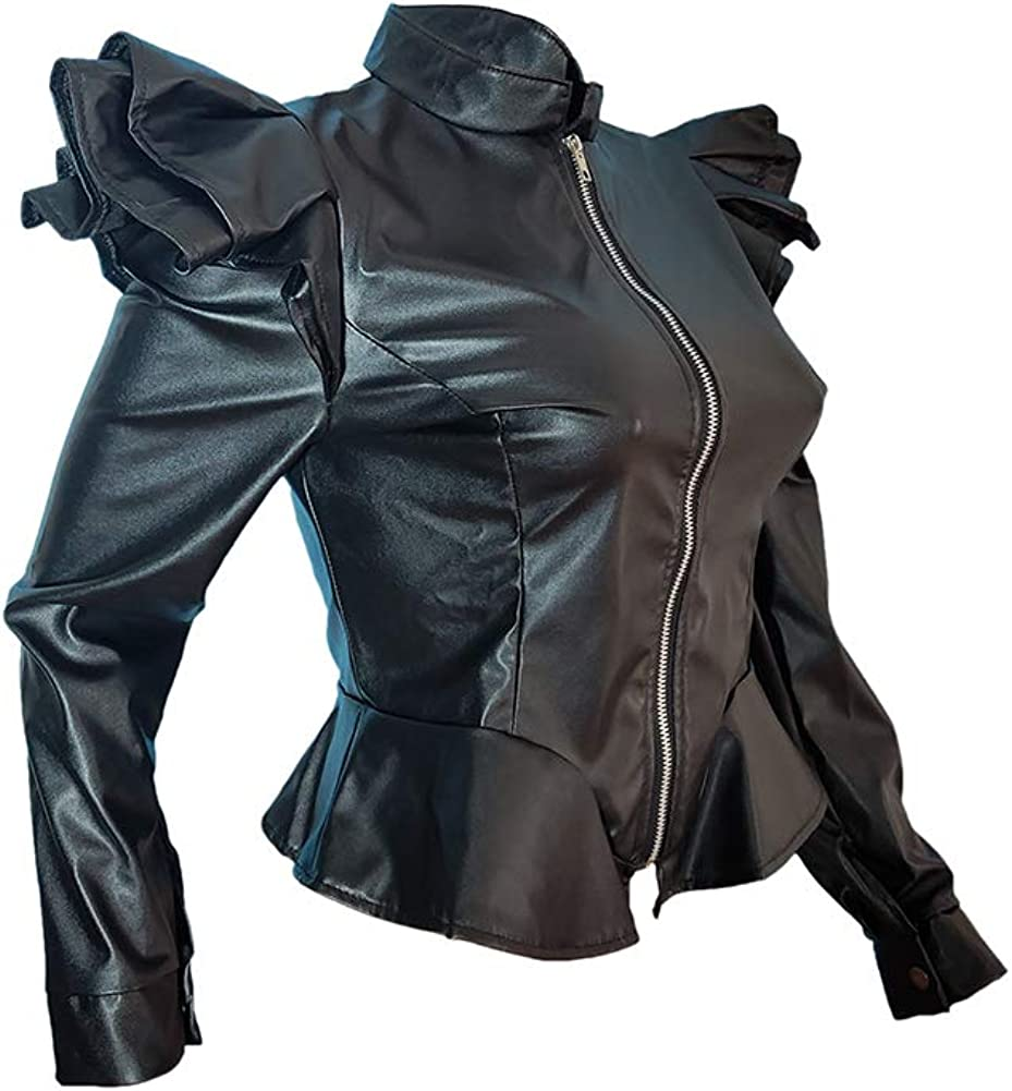 Vakkest Womens Cool Faux Leather Zipper Ruffle Slim Fit PU Moto Biker Jacket Outwear