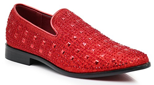 SPK11 Men's Vintage Fashion Rhinestone Designer Dress Loafers Slip On Shoes Classic Tuxedo Dress Shoes (12 D(M) US, Red) (Blue And Royal Stripe Dress Black)