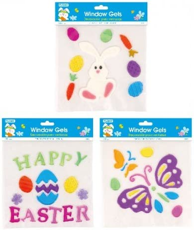 6 Sheets Spring Easter Window Gel Clings Happy Holiday Gel Stickers Easter Bunny Egg Gel Clings Party Favor Easter Presents Decorations for Home Office Windows Mirrors Totally 47 Pieces