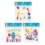 FLOMO Easter Window Gel Clings - 3 designs - Easter Decorated Eggs, gel window clings