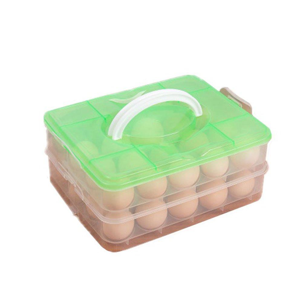 OUNONA 2 livelli 40 Cestini porta uova uova scatola di immagazzinaggio grande capacità uovo organizzatore per frigorifero porta uovo con maniglia portatile uova contenitore portante (verde chiaro)