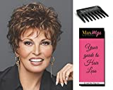 Bundle 3 items: Whisper Wig Wavy Layered Boy Cut by Raquel Welch Wigs R4, Wig Comb, MaxWigs Hairloss Booklet