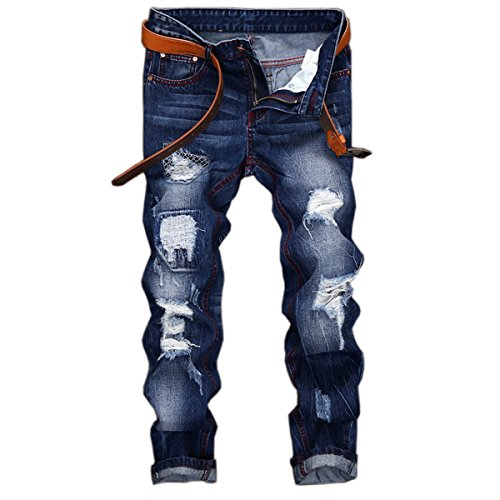 Bleached Straight Leg Jean (Pishon Men's Distressed Jeans Casual Bleached Straight Fit Patched Destroyed Jeans, Blue, Tag Size 32=US Size 30)