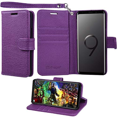 Galaxy S9 Case, Wisdompro Premium PU Leather 2-in-1 Protective [Folio Flip] Wallet Case with Kickstand & Credit Card Holder Slots for Samsung Galaxy S9 [Purple]