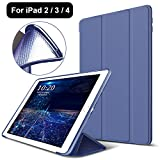 model a1430 - iPad 2/3/4 Case,Mektron Microfiber Lining Smart Case Trifold Stand with Auto Sleep Wake Function Full Silicone Soft Back Cover For Apple iPad 2 3 4,Navy Blue