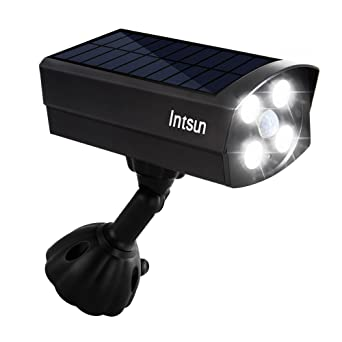 Intsun ultra bright usb solar powered 4 led motion sensor lights intsun ultra bright usb solar powered 4 led motion sensor lights dummy camera outdoor spotligh publicscrutiny Image collections