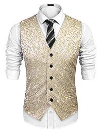COOFANDY Men's Floral Party Tuxedo Vest Sleeveless Dress Suit Vest Waistcoat