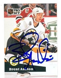 Autograph Warehouse 55322 Brent Ashton Autographed Hockey Card Boston Bruins 1991 Pro Set No .352