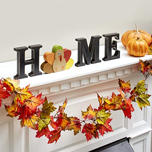 The Lakeside Collection Wooden Decorative Home Signs with Letters, Pumpkin, Turkey, Snowflake – 13 Pc.