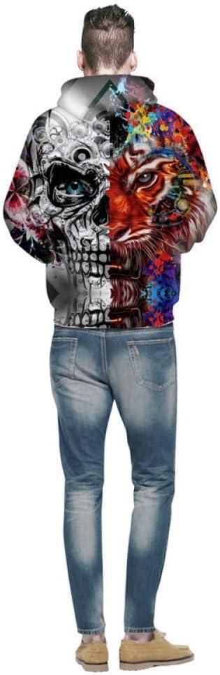 BAI Aassdd New Trend Uomo Felpa con cappuccio manica lunga multicolore con stampa teschio per uomo Felpe 3D divertenti Abbigliamento uomo,M ** L