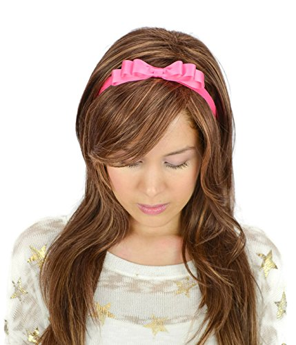 Sweet in the City Hot Pink Satin Ribbon Bow Headband Stretchy Elastic Band Kawaii Alice in Wonderland Inspired Cute Girly Women's Hair Accessories