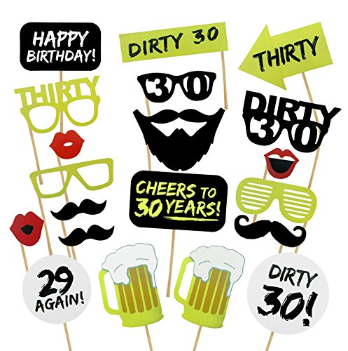 Famoby DIY 30th Photo Booth Props Kits for Birthday Party Decorations 20pcs/pack