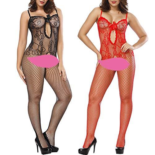 (VivilY 2Pack Womens Body Stocking Fishnet Lingerie Fishnet Stoking Tights)