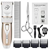 Professional Pet Grooming Clippers,Rechargeable Cordless Pet Hair Clipper for Small Medium Large Dogs Cats and Other Animals,Otstar Low Noise Pet Grooming Kit Set (White and Gold)