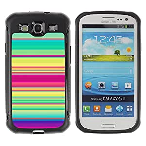 "Pulsar iFace Series Tpu silicona Carcasa Funda Case para Samsung Galaxy S3 III I9300 , Patrón de rayas del trullo púrpura verde rosado Líneas"""