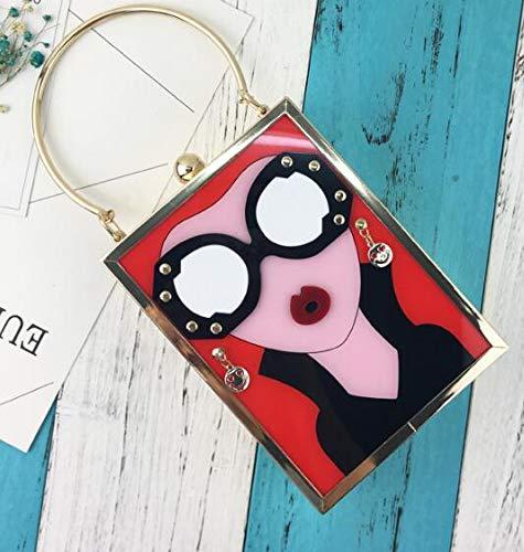Rosso orecchini signore mini borsa elaborazione moda cuoio delle borsa a di disegno borsa Pnizun messaggero sera pochette sexy marchio borsa Nero dimensione di S da dell'unità labbra della tracolla donna T8Wn6Ctnx