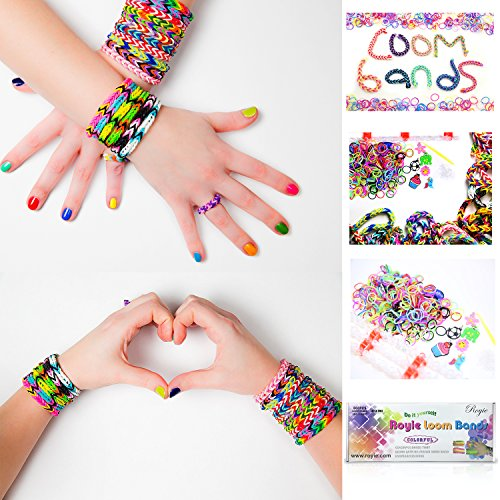 Premium Rainbow Loom Bands 600 Kit, Bracelet Making Kit, 24 S Clips, 600 Loom Band, Six Charms Rubber bands