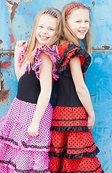 nero//rosso 9//10 anni per ragazza//bambini La Senorita vestito Flamenco spagnolo//Costume