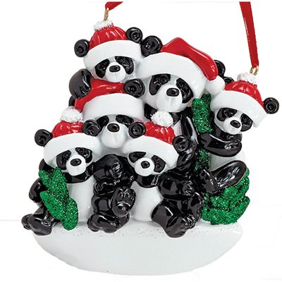 (Personalized Bamboo Panda Bear Family of 6 Christmas Ornament for Tree 2018 - Siblings Friends in Santa Hat Holding Hands - Glitter Green Winter Holiday Tradition - Free Customization by Elves (Six))