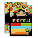Fiesta Mexican Themed Party Invitations for Birthday Celebration, Retirement, or Cinco De Mayo, Ten 5''x7'' Fill In Cards with 10 White Envelopes by AmandaCreation