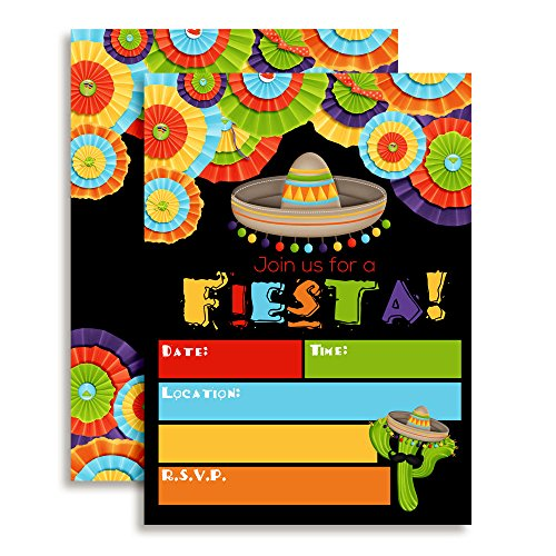 Fiesta Mexican Themed Party Invitations for Birthday Celebration, Retirement, or Cinco De Mayo, Ten 5