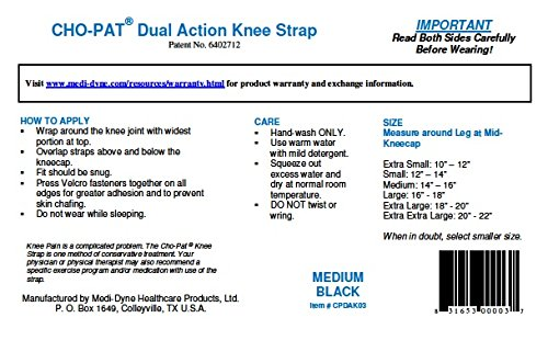 "Cho-Pat Dual Action Knee Strap – Provides Full Mobility & Pain Relief For Weakened Knees – Black (Medium, 14""-16"") by Cho-Pat (Image #5)"