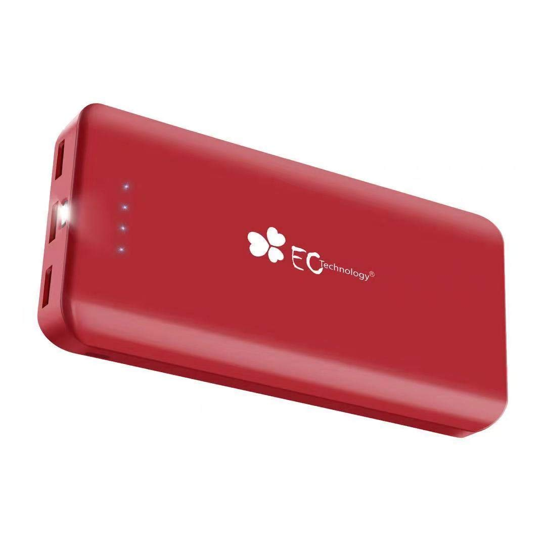 EC TECHNOLOGY Batterie Externe 22400mAh Power Bank Chargeur Portable de Secours avec 3 Ports, Puissante Compatible avec iPhone, iPad, Android, des Smartphones et Tablettes - Rouge B30-JW22400RR