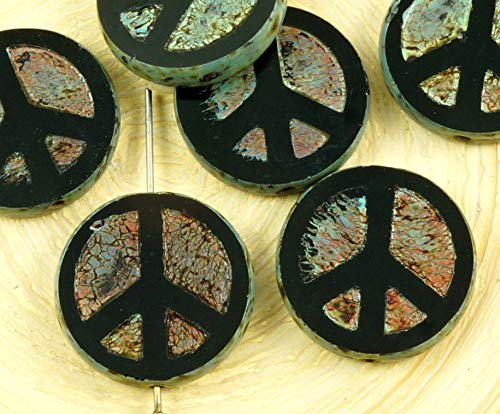 4pcs Picasso Brown Opaque Jet Black Peace Sign Love Tree of Life Charm Pendant Coin Flat Round Table Cut Window Czech Glass Beads 15mm