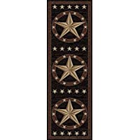 Rustic Western Texas Star Pattern Area Rug, Featuring Geometric Revolving Stars Themed, Runner Indoor Hallway Doorway Living Area Bedroom Cabin Carpet, Modern West Country Style, Tan, Size 23 x 77