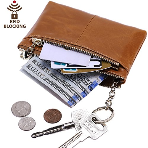 (Itslife RFID BLOCKING Triple Zipper Leather Mini Coin Purse Card Holder with Key Chain)