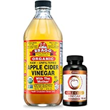 Bragg USDA Certified Organic Apple Cider Vinegar - 16 Ounce - With IGUAZU ACV Pills Combo - With The Mother - Raw - All Natural Weight Loss, Detox, Digestion & Circulation Support - NON-GMO